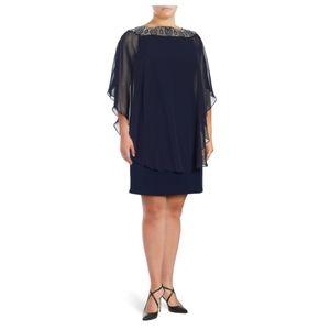 Capelet Beaded Chiffon Shift Dress- size 22W